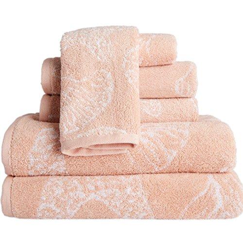 MP 6 Piece Pink Beach Themed Towel Set, Blush Jacquard Sea S
