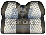 Club Car Precedent Front Seat Covers | Diamond Stitching | Grey & Black |