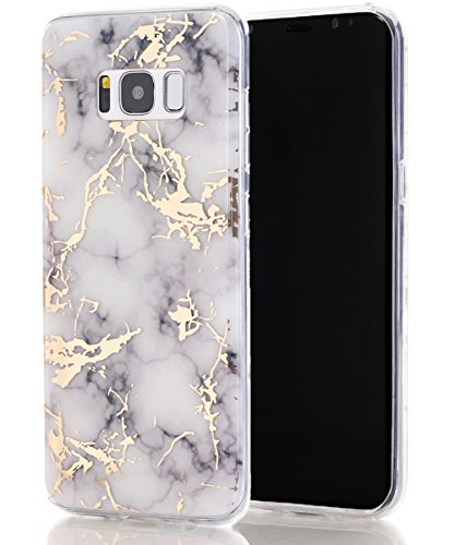 Galaxy S8 Plus Case,Spevert Marble Pattern Hybrid Hard Back Soft TPU Raised Edge Ultra-Thin Shock Absorption Slim Protective Cover Case for Samsung Galaxy S8 Plus/S8+ (White)