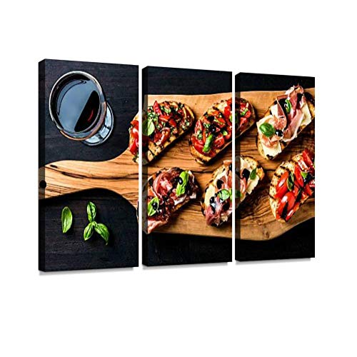 BELISIIS Brushetta Set and Glass of red Wine. Small Sandwiches with Wall Artwork Exclusive Photography Vintage Abstract Paintings Print on Canvas Home Decor Wall Art 3 Panels Framed Ready to Hang