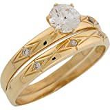 Best Jewelry Liquidation Wedding Ring Sets - 10k Yellow Gold Shining Design Ladies Wedding Set Review