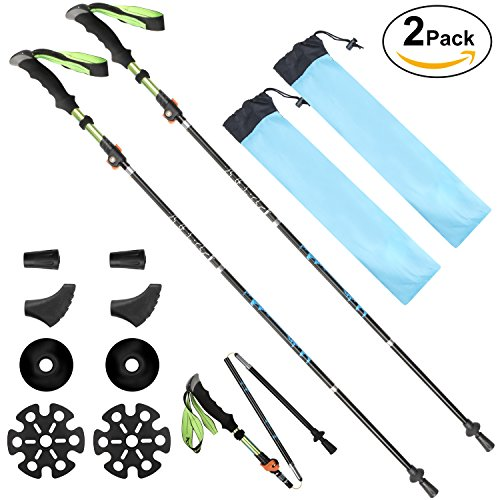 Trail Shock Trekking Poles - SeoJack Anti Shock Hiking/Walking/Trekking Trail Poles With Tungsten Carbide Tip And Quick Lock System,Collapsible Ultralight Adjustable Stick for Traveling Camping Hiking Mountaineering-2 pack