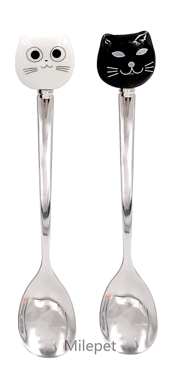 Ceramic Stainless Steel Cat Dessert spoon Drink Spoons Fruit Fork,5.6-Inch,Black/&White Available,Set of 4 Cute Cat Coffee Spoon and Fork Set 2pcs Black Spoon+2pcs White Spoon