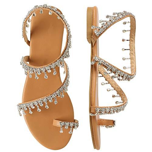 - Shoe'N Tale Women Bling Rhinestone Pearl Flat Gladiator Sandals Toe Ring Dress Shoes (8 M US, 1-Rhinestone)