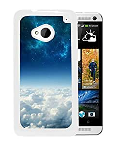 New Fashion Custom Designed Cover Case For HTC ONE M7 With Starry Sky White Phone Case