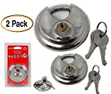 Disc Padlock with 2 Brass Keys 2 3/4-inch (2 Pack) solid fine stainless steel, Anti Saw, for Self-Storage, sheds and more