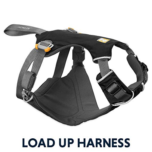 RUFFWEAR - Load Up, Dog Car Harness with Strength-Rated Hardware, Secure Vehicle Restraint, Universal Seat Belt Attachment, Obsidian Black, ()