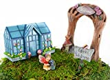 Clever Home Fairy Garden Sets in Resin with Fine Detailing (Arch and Greenhouse with Fairy and Sign)