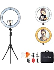 """18 Inch Ring Light with 79"""" Tripod Stand,Mountdog Dimmable LED Ring Light with Rotatable Phone Holder, Bluetooth Remote Control Carrying Bag for YouTube, Live Streaming, Video Shooting, Make Up"""