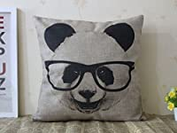 "SIXSTARS Decorative Cotton Linen Square Throw Pillow Case Cushion Cover Panda with Glasses Pillowcase 18 ""X18 """