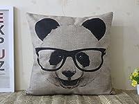 "SIXSTARS Decorative Cotton Linen Square Throw Pillow Case Cushion Cover Panda with Glasses Pillowcase 18 ""X18 """