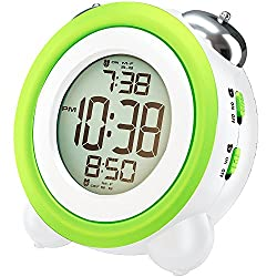 Awakelion Digital Alarm Clock with Nightlight,2 Alarms,Optional Weekday Mode, Snooze Fuction,Super Loud for Kids & Heavy Sleepers(Green+White)