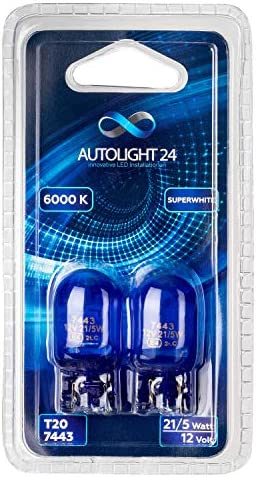 Autolight 24 I 2x W21 5w 7443 T20 Halogen Parking Light Xenon White Lamp Bulb Daytime Running Light Auto