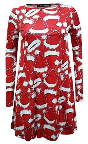 Chocolat Cornichon Nouvelles Dames Renne Nez Noir Noël Père Noël Évasé Patineur Balançoire Robe 4-22 Chapeau Rouge Père Noël