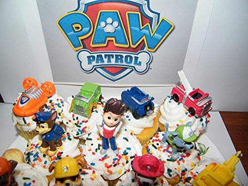 Nickelodeon PAW Patrol Figure Set of 12 Deluxe Mini Cake Toppers Cupcake Decorations Party favors Featuring Ryder, Marshall, Chase, Skye, 5 Vehicles and Special Gift