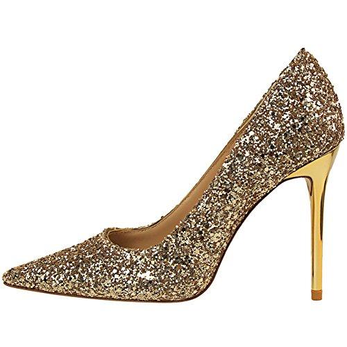 De BIGTREE Femmes Chaussures Escarpins Or Pointu à Robe talon Mariage Brillant Sexy Paillettes wx8Wn6qUCY