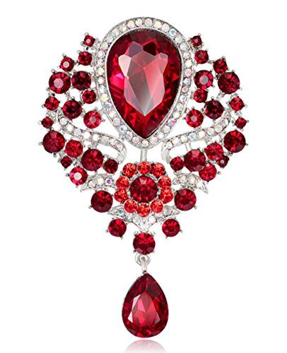 Ruby Brooch Pendant - YiYi Operation Teardrop Flower Austrian Crystal Bouquet Brooch Pendant Pins Bridal Jewerly