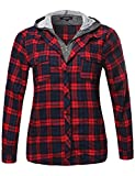 Undetachable Two Tone Terry Mixed Hoodie Plaid Shirt Red Navy Size 3XL