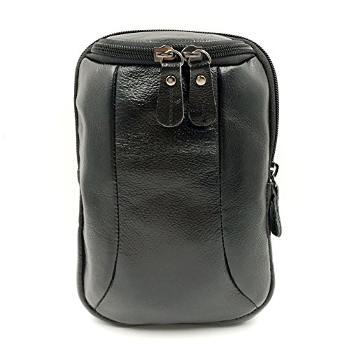 Designer Cigarette Case - Boleke Mens Original Leather Designer Casual Small Messenger Shoulder Bag Fashion Waist Belt Bag Pack Cigarette Phone Case(U2063 Black)