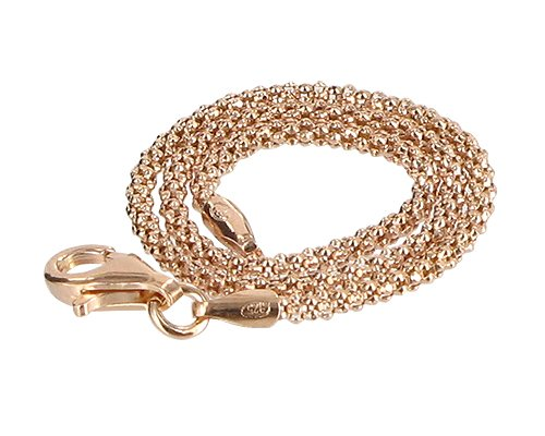 Gem Avenue 14k Gold over .925 Silver Vermeil 1.6mm Popcorn Chain Ankle Bracelet (9'' - 11'' Available) by Gem Avenue (Image #2)