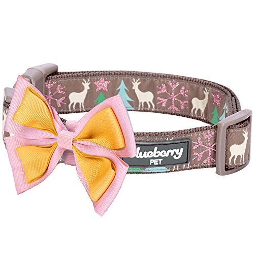 Blueberry Pet 14 Patterns Moments of Peace Happy Reindeer Designer Bowtie Dog Collar, Small, Neck 12