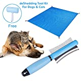 LATIT Pet deShedding Tool, Comb for Cats & Dogs,Pet Dematting Tool Set,includes 2 in 1 Shedding Brush Comb,Lint Roller and Pet Compact Pocket Beach Blanket Mat for Small Medium Large Dog/Cats