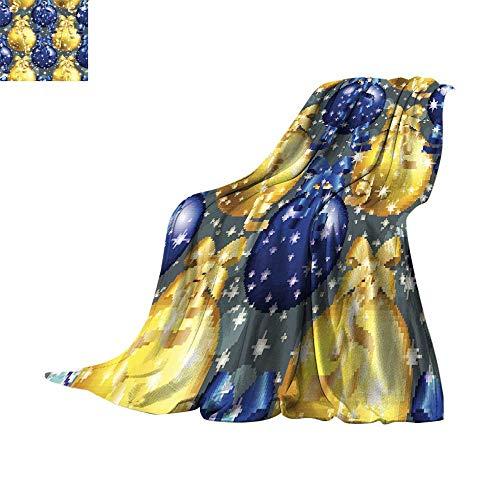RenteriaDecor Fleece Blanket Throw Digital Printing WarmNew Year Pattern with Ball Christmas Wallpaper with Ribbon 1 Throw Blanket 70