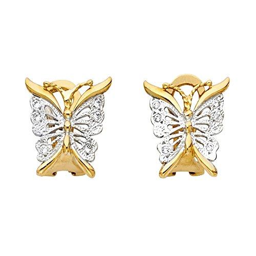 (Solid 14k White Yellow Gold Butterfly Stud Earrings Clip-ons Studs CZ Diamond Cut Fancy Two Tone 15 mm)