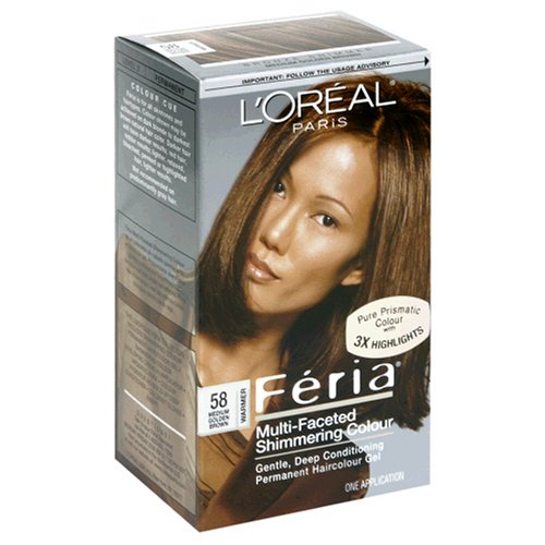 L'Oreal Feria Multi-Faceted Shimmering Colour, Level 3 Permanent, Medium Golden Brown/Warmer 58 (Pack of 3)