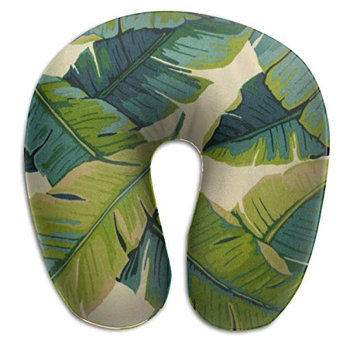BRECKSUCH Opal Banana Leaves Pattern Print U Type Pillow Memory Foam Neck Pillow for Travel and Relief Neck Pain Comfortable Super Soft Cervical Pillows with Resilient Material Relex Pollow
