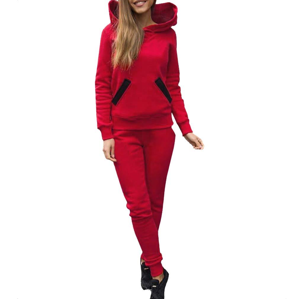 Mxssi Ensemble De Survêtement pour Femmes pour Les Femmes Sweat À Capuche À Manches Longues Et Pantalon Long avec Poches Mode Sportwear Costumes De Jogging Tenues Ensemble S-XL