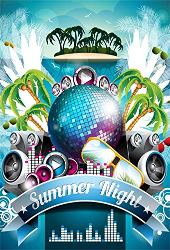 Summer Night Backdrop 5x6.5ft Vinyl Photography Background Cartoon Coconut Palmss Mirror Ball Sunglasses Music Video Scene Summer Holiday Vacation Child Kids Baby Shoot Friends Gathering Party