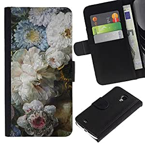 WINCASE ( No Para S4 i9500 ) Cuadro Funda Voltear Cuero Ranura Tarjetas TPU Carcasas Protectora Cover Case Para Samsung Galaxy S4 Mini i9190 - que significa bosque cubo blanco negro