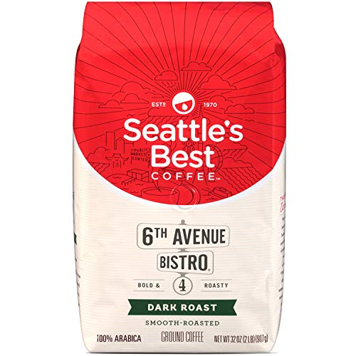 Seattle's Best 6th Avenue Bistro (Previously Signature Blend No.4) Level 4 Medium Dark and Rich Ground Coffee 32 Ounce Bag (Pack of ()