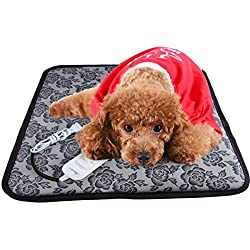 """Aopet Dog Heating Pad Pet Electric Blanket Heater Mat Cat Warming Waterproof Heated Beds with Chew Resistant Cord Overheat Protection Warmer Grey 17.7""""x17.7"""""""