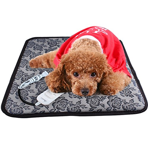 Aopet Dog Heating Pad Pet Electric Blanket Heater Mat Cat Warming Waterproof Heated Beds with Chew Resistant Cord Overheat Protection Warmer Grey 17.7x17.7