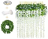12 PCS, 3.6 feet, Artificial Wisteria Vine Ratta Hanging Garland Silk Flower String Set || Come with a 7 feet Leaf Vine String and 18 pcs Zip Ties || By KooCoo Mummy (White)