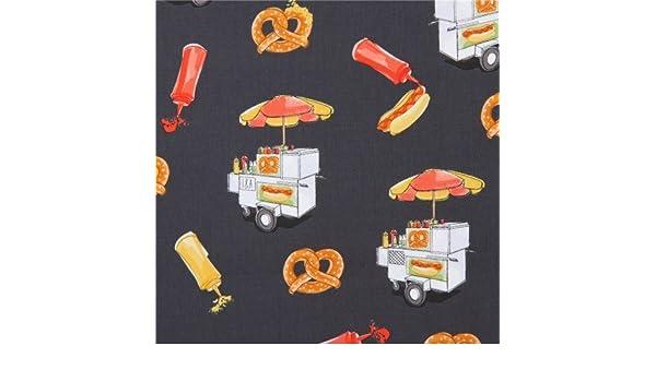 Tela gris oscuro carrito venta comida hot dog mostaza pretzel de Ink & Arrow: Amazon.es: Hogar