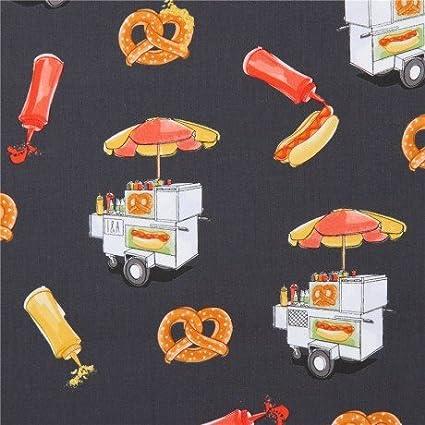 Tela gris oscuro carrito venta comida hot dog mostaza pretzel de Ink & Arrow