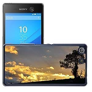 Etui Housse Coque de Protection Cover Rigide pour // M00421562 Árbol de la puesta del sol de la // Sony Xperia M5 E5603 E5606 E5653