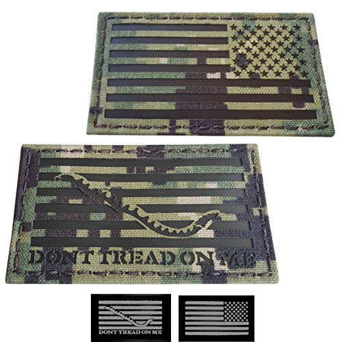 (Tactical Freaky IR Bundle Set of 2 pcs AOR2 First Navy Jack USA Reversed Flag DTOM 2x3.5 NWU Type III Infrared Chest Rig Plate Carrier Morale Fastener)