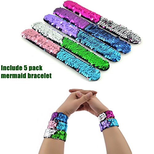 Slap Bracelets, 35 PCS Birthday Party Favors Gifts (25 Designs Slap Bracelets + 5 Reversible Sequin Mermaid Bracelets + 5 Silicone Emoji Bracelets), Charming Wristband for Kids and Adults. by JACHAM (Image #5)