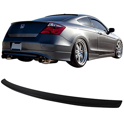Trunk Spoiler Fits 2008-2012 Honda Accord | OE Style Unpainted Raw Material Black ABS Rear Tail Lip Deck Boot Wing by IKON MOTORSPORTS | 2009 2010 2011