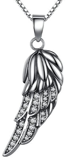 925 Sterling Silver Angel Wing Feather Pendant CC-JJ
