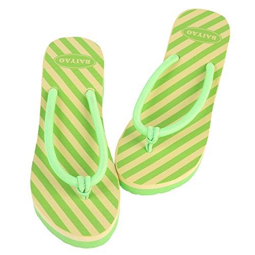 Damara Kvinners Stripe Såle Krenget Flip Flops Grønn