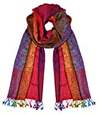 Peach Couture Rainbow Silky Tropical Colorful Exotic Pashmina Wrap Shawl Scarf (Floral Paisley Red)