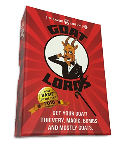 Goat Lords -- Hilarious and Competitive New Card Game, Best for Adults, Teens, and Kids, Ages 7 and Up. Awesome Party Game for Families, Fun Board Games Nights, etc! - Hard Durable Box - Free e-Book - Family Strategy Board Game