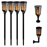 Aluvee Solar Torch Lights,99 LED 3 Mode Dancing Flame Lighting Flickering Torches Waterproof Wireless Outdoor Light Patio Garden Path Yard Wedding Party(4 Pack) For Sale