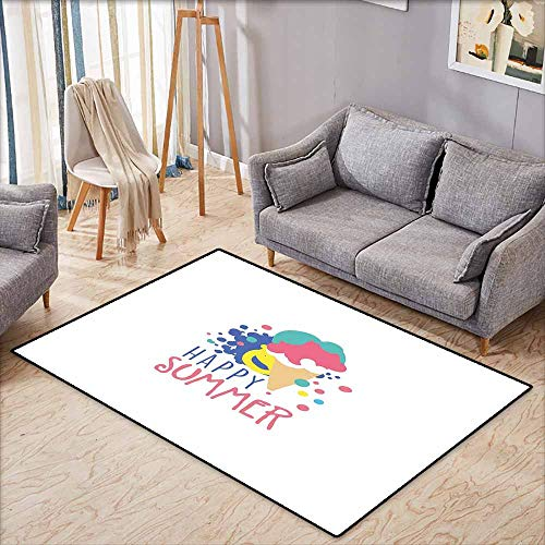 Classroom Rug,Hello Summer,Colorful Illustration with Melting Ice Cream Doodle Color Spots and Lettering,for Outdoor and Indoor,5'6
