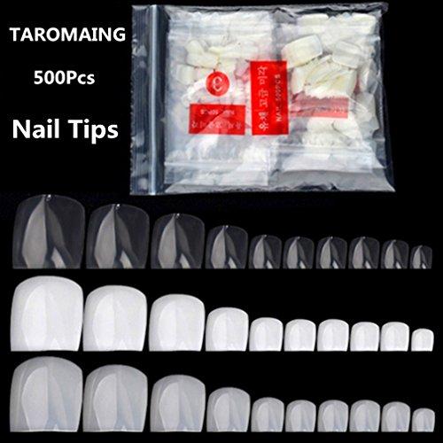 Nail Tips, TAROMAING 500 Pcs False Toenails Full Cover Artificial French Acrylic Toenails 10 Sizes for Nail Salons and DIY Nail Art (Natural)